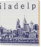 Philadelphia Blueprint  Wood Print by Olivier Le Queinec