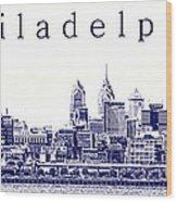 Philadelphia Blueprint  Wood Print