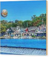 Philadelphia  Boat House Row And Zoo Balloon Wood Print