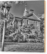 Philadelphia Carpenter's Hall East Side 4 Bw Wood Print