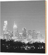 Philadelphia City Glow Wood Print