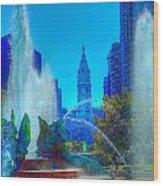 Philadelphia City Hall And Swan Fountain 2  Wood Print