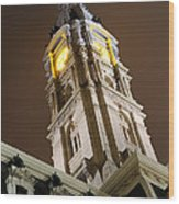 Philadelphia City Hall Clock Tower At Night Wood Print by Gary Whitton