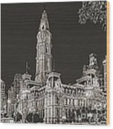 Philadelphia City Hall Mono Wood Print