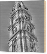Philadelphia City Hall Tower Bw Wood Print