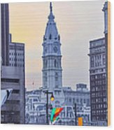 Philadelphia Cityhall In The Morning Wood Print