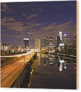 Philadelphia Cityscape From South Street At Night Wood Print