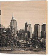Philadelphia Cityscape In Sepia Wood Print