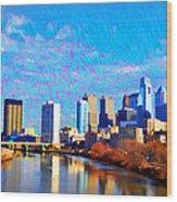 Philadelphia Cityscape Rendering Wood Print