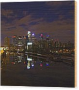 Philadelphia From South Street At Night Wood Print by Bill Cannon
