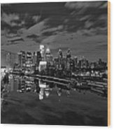 Philadelphia From South Street At Night In Black And White Wood Print