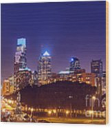Philadelphia Nightscape Wood Print