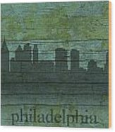 Philadelphia Pennsylvania Skyline Art On Distressed Wood Boards Wood Print