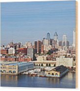 Philadelphia River View Wood Print by Bill Cannon