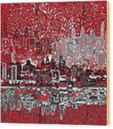 Philadelphia Skyline Abstract 4 Wood Print by Bekim Art