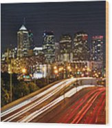 Philadelphia Skyline At Night In Color Car Light Trails Wood Print