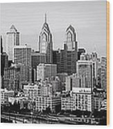Philadelphia Skyline Black And White Bw Pano Wood Print