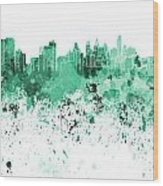 Philadelphia Skyline In Green Watercolor On White Background Wood Print