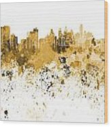 Philadelphia Skyline In Orange Watercolor On White Background Wood Print