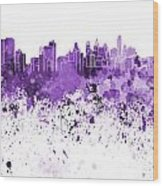 Philadelphia Skyline In Purple Watercolor On White Background Wood Print
