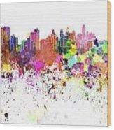 Philadelphia Skyline In Watercolor On White Background Wood Print