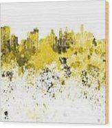 Philadelphia Skyline In Yellow Watercolor On White Background Wood Print