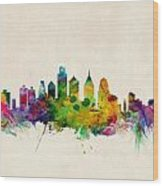 Philadelphia Skyline Wood Print by Michael Tompsett