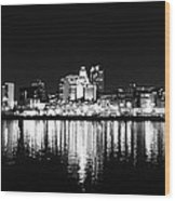 Philadelphia Skyline Panorama In Black And White Wood Print