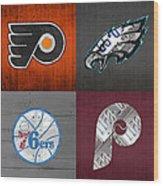 Philadelphia Sports Fan Recycled Vintage Pennsylvania License Plate Art Flyers Eagles 76ers Phillies Wood Print