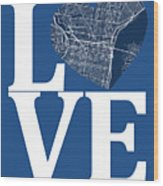 Philadelphia Street Map Love - Philadelphia Pennsylvania Texas R Wood Print