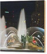 Philadelphia - Swann Fountain - Night Wood Print by Bill Cannon