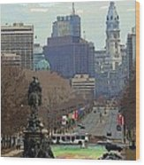 Philadelphia - The Parkway Wood Print