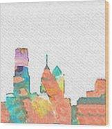 Philadelphia Watercolor Cityscape Wood Print