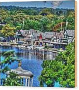 Philadelphia -waterworks And Boat House Row And Zoo Balloon Wood Print