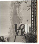 Philadelphia's Love Story In Sepia Wood Print