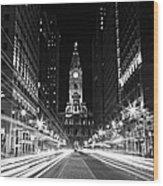Philadephia City Hall -- Black And White Wood Print