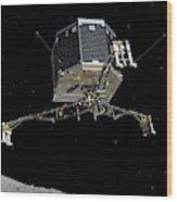 Philae Lander Descending To Comet 67pc-g Wood Print