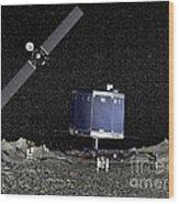 Philae Lander On Surface Of A Comet Wood Print