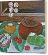 Philippine Still Life With Fish And Coconuts Wood Print