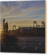 Phillies Citizens Bank Park At Dawn Wood Print by Bill Cannon