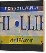Phillies License Plate Map Wood Print