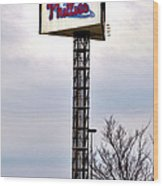 Phillies Stadium Sign Wood Print by Bill Cannon