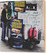 Philly Cheese Steak Cart Wood Print