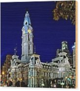 Philly City Hall At Night Wood Print