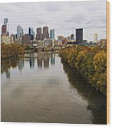 Philly Fall River View Wood Print