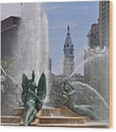 Philly Fountain Wood Print