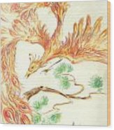 Phoenix In Flight Wood Print