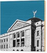 Phoenix Skyline Arizona Capital Building - Steel Blue Wood Print
