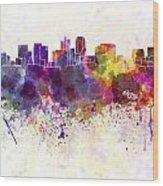 Phoenix Skyline In Watercolor Background Wood Print