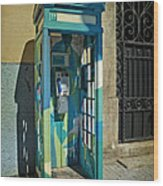 Phone Booth In Blues - Oporto Wood Print